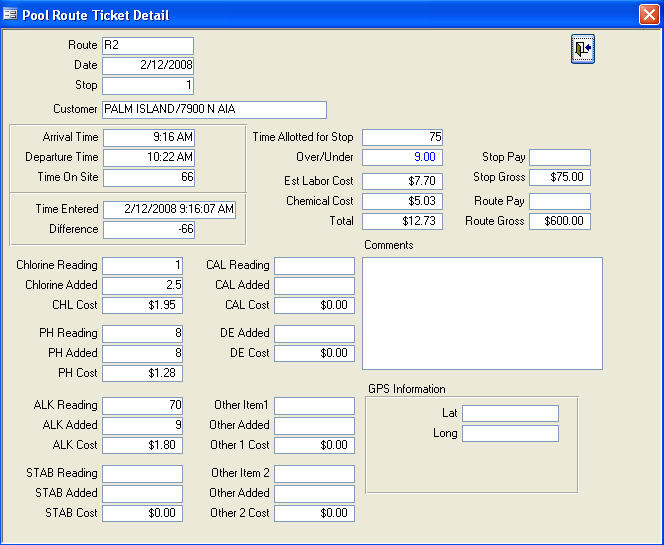 Swimming pool log sheet template for Swimming pool service software
